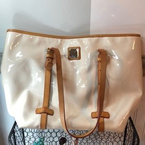 Dooney & Bourke: white pleather, tan trimmed bag